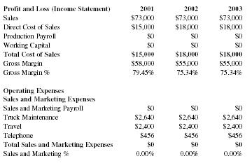 sample profit and loss statement for trucking company
